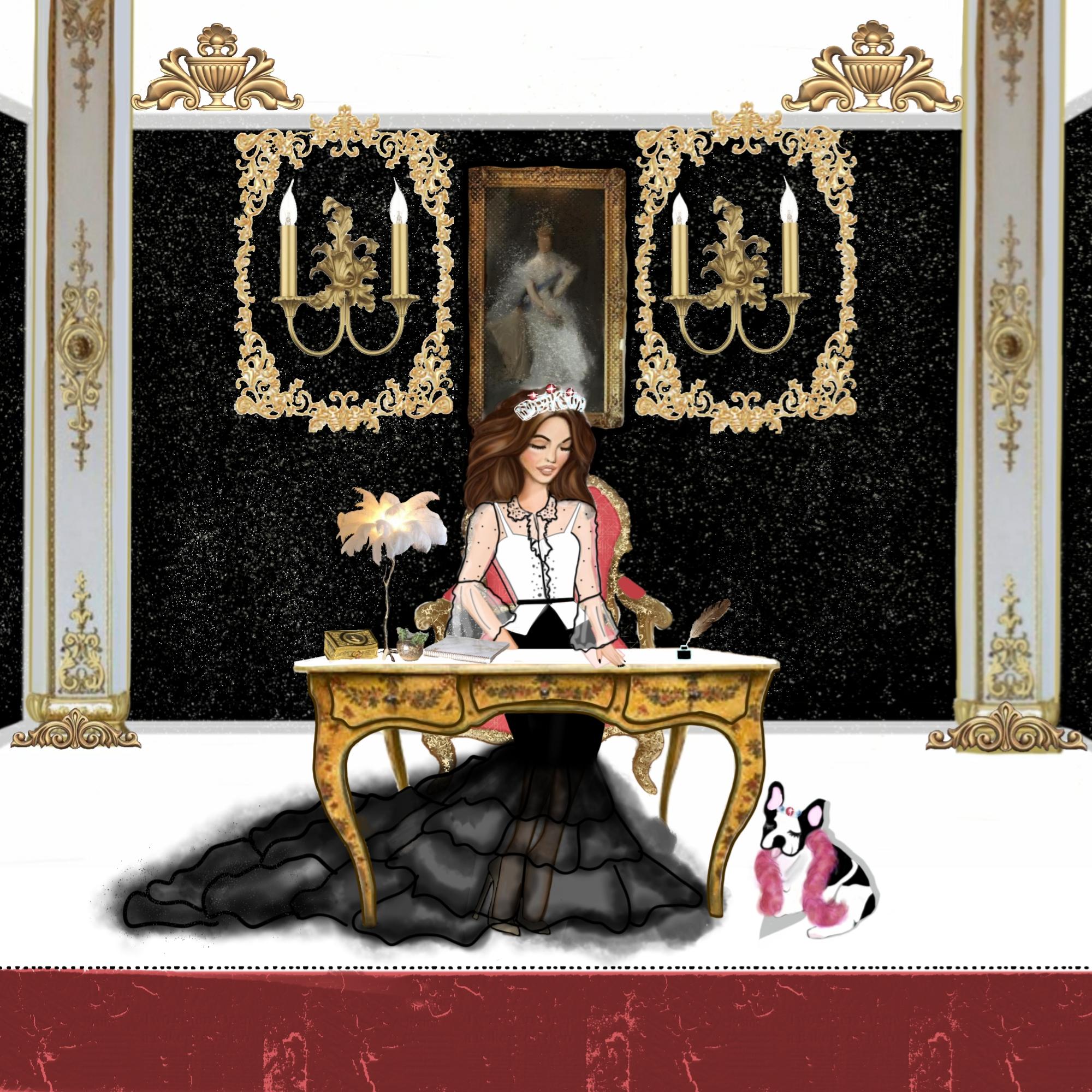 Princess at palace desk